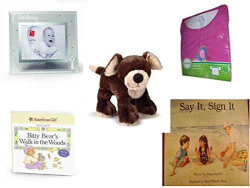Children's Gift Bundle - Ages 0-2 [5 Piece] Includes: Russ Berrie Small Blessings Christening Glass Photo Frame, Pink, Circo Infant Girls Swim Tee Pink Butterfly Size L 18 Months 22-25 lbs, Webkinz by Secure-Order-Marketplace Gift Bundles