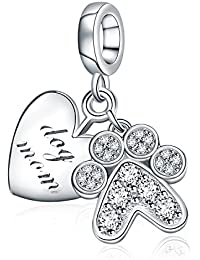 Mother's Day Gifts Love My Pet Dog Bone 925 Sterling Silver Charms Fits Bracelets Jewellery from Daughter Son