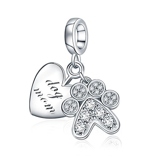 AMATOLOVE 925 Sterling Silver Charms Bead Heart Jewelry Dog Mom I Love You Paw Print for Bracelets Necklaces]()