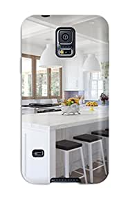 New Design Shatterproof PEoZfXY3603zwSgx Case For Galaxy S5 (crisp White Kitchen With Blue Tile)