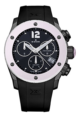 Edox Women's 10403 37NR NIN Class 1 Black Ion-Plating Chronograph Date Pink Ceramic Watch