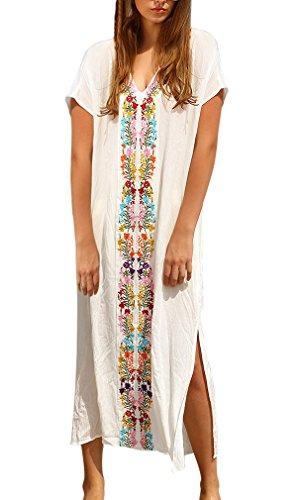 Women's Turkish Kaftans Robe White Embroidered Cotton V Neck Slit Holiday Bikini Cover Up Maxi Beach Dress