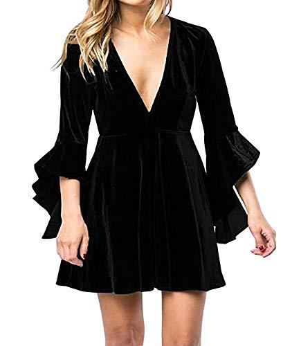 Caitefaso Womens Fall Velvet Plunge Party Dresses Flare Long Sleeve V Neck Elegant Swing A Line Mini Dress (Long Sleeve V Neck Dress Plus Size)