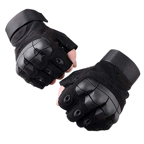 Selighting Gants Tactiques Demi Doigts Gants Moto Anti-dérapant Gants de Militaire d'armée pour Adulte (Noir, XL) 1