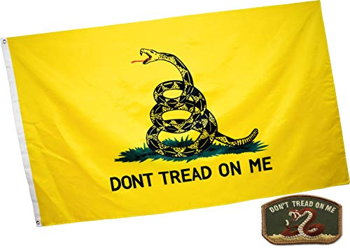 (Eugenys Don't Tread On Me Flag (3x5 Feet) - Bright Colors and UV Resistant Polyester - Free Gadsden Flag Patch Included - Tea Party Flags with Brass Grommets - Perfect Banner Hanging Indoor/Outdoor)