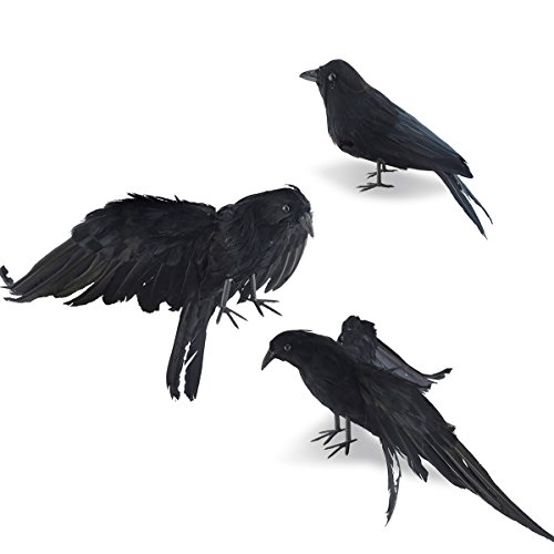 IMOSA Halloween Realistic Handmade Crow Prop 3 Pack Black Feathered Crow Fly and Stand Crows Ravens For Outdoors and Indoors Crow Decoration -
