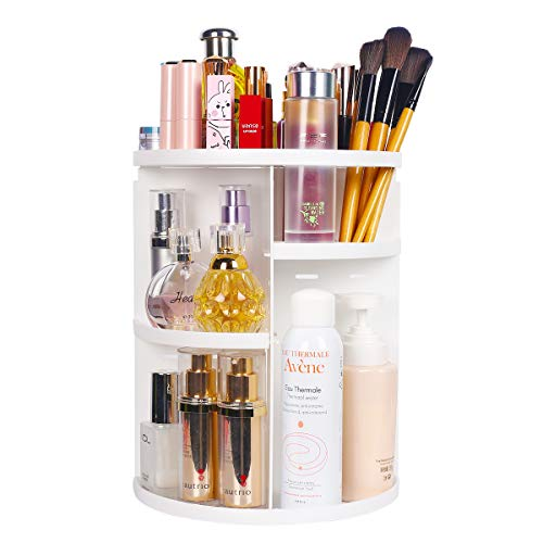 sanipoe 360 Makeup Organizer, DIY Detachable Spinning Cosmetic Makeup Caddy Storage DIsplay Bag Case Large Capacity Makeup Box Acrylic Vanity Organizer Box, Great for Countertop and Bathroom, White (Bathroom Vanity Organizer)