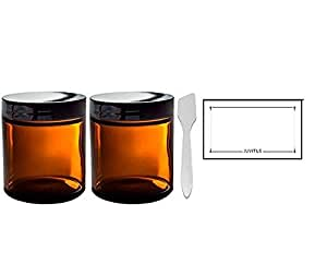 Amber Glass Straight Sided Jar - 4 oz (2 Pack) + Spatulas and Labels