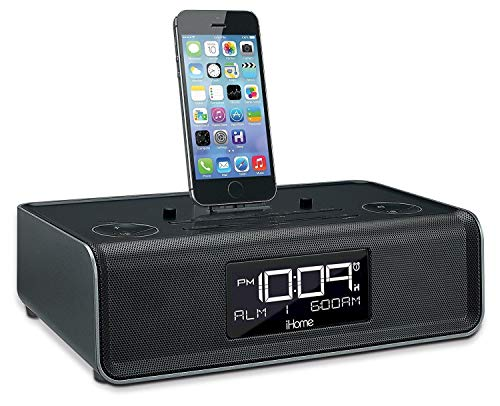 iHome iDL43 Lightning Dock Dual Clock Radio with USB Charge/Play for iPhone 5/5S & 6/6Plus & All iPad Models with Lightning Connector - Newest Model (Black NEW MODEL) (Alarm Clock Lightning Connector)