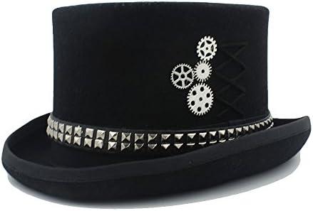 TIAN XIAO YONG Mujeres Wen Fodora Steampunk Sombrero con remaches Sombrero de copa