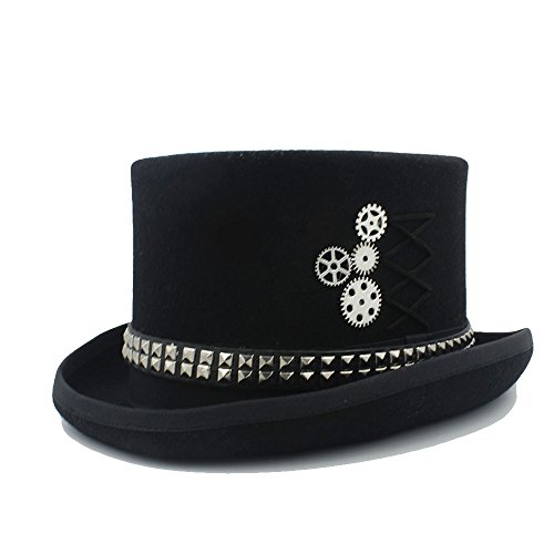 CNBEAU Women wen Fodora Steampunk Hat With Rivet Gears Top Hat (Color : 1, Size : 55cm) by CNBEAU