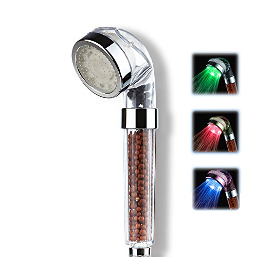 Huluwa Shower Head LED Water Temperature Controlled Color Changing Double Filtration Massage Spa Anion Showerhead