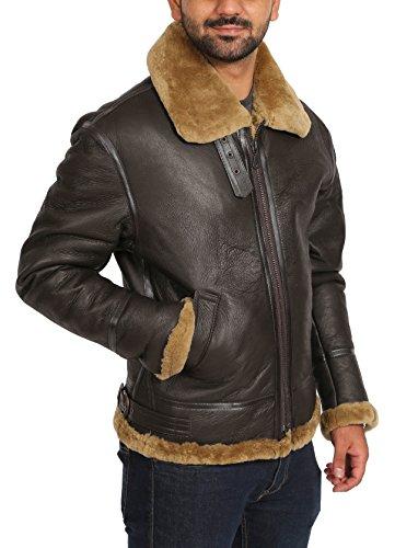 Real Sheepskin Flying Leather Jacket Irvin B3 Pilot Aviator ...