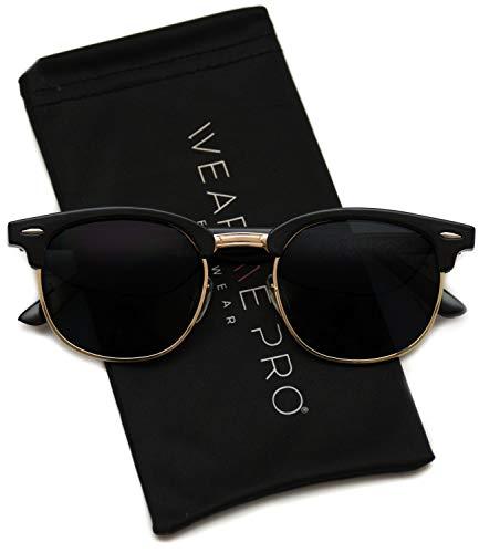 Retro Classic Metal Half Frame Horn Rimmed Sunglasses (Thin Black Frame/Gold Rimmed, 51)