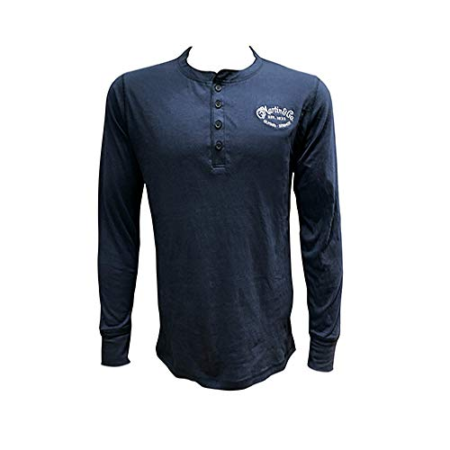 Martin 18CM0140 Henley Embroidered Long Sleeve T-Shirt, Large Blue