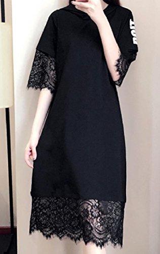 Coolred-femmes Mode Taille Plus Épissure À Motifs Capuche Bordure En Dentelle Mi Et Maxi Robe Noire