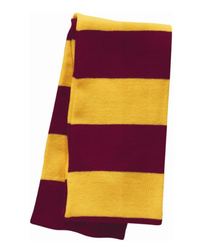 Potter Official Scarf Harry (Sportsman - Rugby Striped Knit Scarf - SP02 - One Size - Cardinal/ Gold)