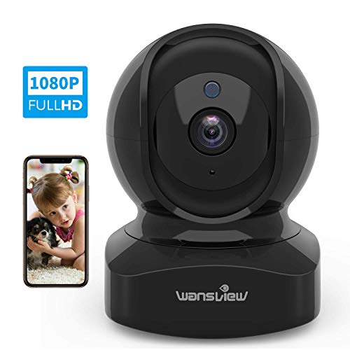 (Wireless Security Camera, IP Camera 1080P HD Wansview, WiFi Home Indoor Camera for Baby/Pet/Nanny, Motion Detection, 2 Way Audio Night Vision, Works with Alexa, with TF Card Slot and Cloud)