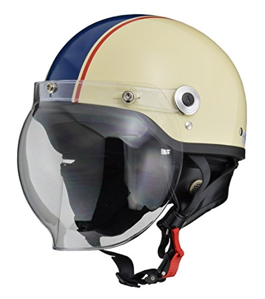 [해외] 리드 공업(LEAD) 오토바이 헬멧 제트 CROSS 버블 쉴드 부착 아이보리리×네이비 CR-760 -