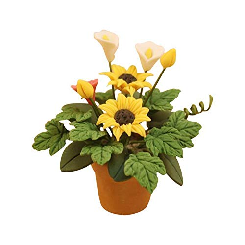 - Agordo 1/12 Dollhouse Miniature Handcrafted Clay Sunflower and Greenery in vase C7J4