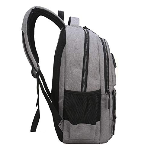 Travel Laptop Backpack, Business Laptop Backpacks USB Charging Port Headphone Interface,Water Resistant College School Computer Bag Women & Men Fits 15.6 inch Laptop Notebook(Gray) by MEWAY (Image #4)