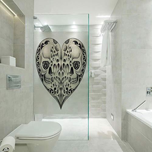 RWNFA Glass Paper Window Decorative Film,Twin Half Fire Design in Hearts Festive Spanish Image Print,Customizable Size,Suitable for Bathroom,Door,Glass etc,Cream and Black