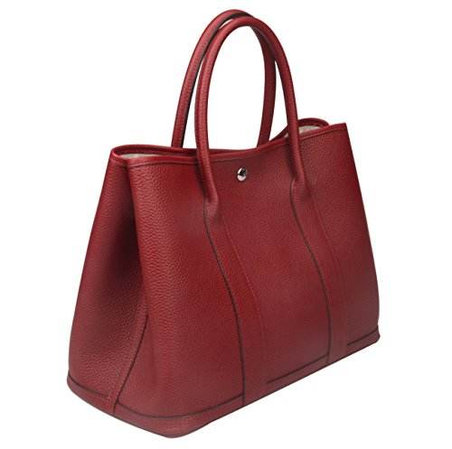 Ainifeel Women's Genuine Leather Totes Top Handle Shopping Bag Purse (Claret) by Ainifeel