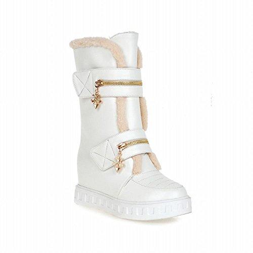 Snow Dress Zipper Multi Heel Decorations Warm Hidden Fur Faux Carolbar Boots White Cross Wedge Womens tP5nw7