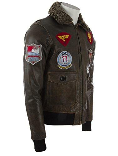 Aviatrix Blouson Aviateur de vol Pilote Effet Vintage en Cuir Veritable pour Homme avec Badges (TM72) 3