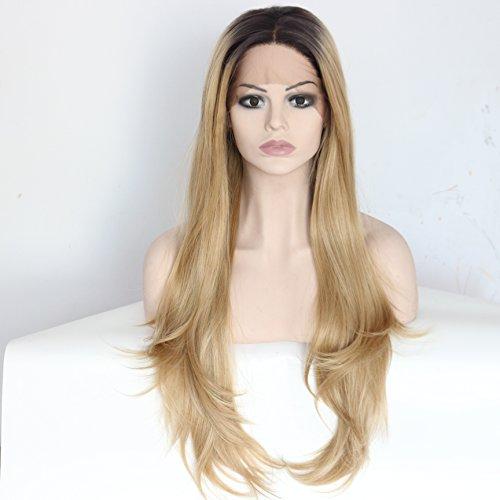 Ebingoo Long Wavy Brown Lace Front Wig Wavy Hair Honey Blonde Dark Roots Heat Resistant Synthetic Fiber Wavy Full Wigs for Women (20 (Dark Blonde Wig)