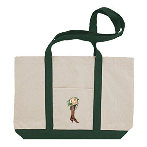 Cotton Canvas Boat Tote Bag Roses In Boot Vintage Look #1 By Style In Print | Green by Style in Print