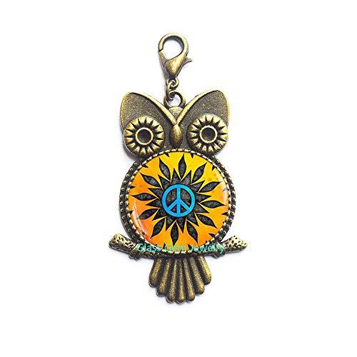 Peace Owl - Hippie Owl Zipper Pull, Hippie Lobster Clasp, Hippie Jewelry, Peace Sign Owl Zipper Pull, Peace Jewelry, Peace Lobster Clasp,Q0107