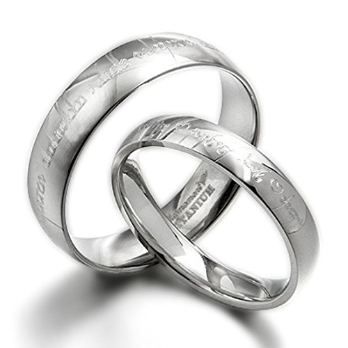 (Gemini His & Her Couple Personalized Elvish Tengwar Matching Wedding Titanium Rings Set, Dome Court, Valentine's Day Gift US size 4-16.5 (half sizes available))