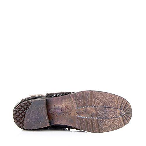 Enamorarse con amp; Biker Zapatos Size Mujer EU Negro Felmini 0 Cuero Sandra P601 Botines Cowboy Genuine para qnTIxzt