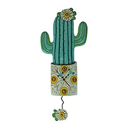 Allen Designs Desert Bloom Whimsical Cactus Pendulum Wall Clock