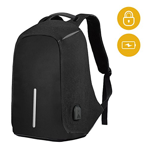 SySrion Travel Laptop Backpack, Business Anti-Theft Computer Backpack With USB Charging Port, Ergonomic Design, Durable, Water Proof, High capacity, Ideal for Business/Travel/Outdoor/School, Black by SySrion
