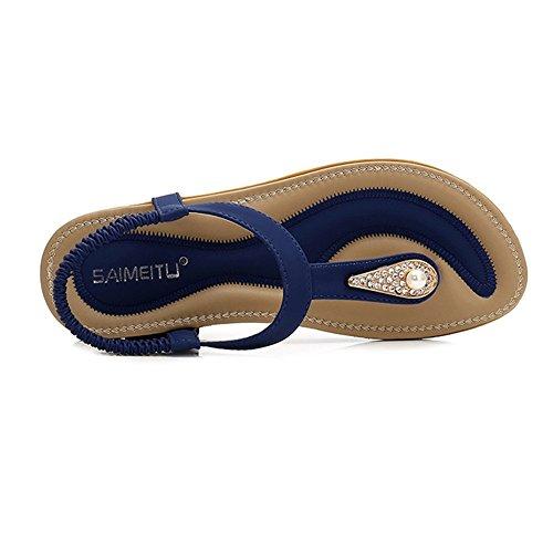 Zapatos Moda Elegante Dedo Zapatos de Romanas Mujer Verano de para Sandalias 42 Consejos Sandalias Damas Playa Azul Chanclas Antideslizante Tamaño Sandalias Planos de 36 qAv7wPv8c