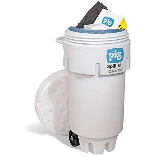 New Pig Spill Kit in 50-Gallon Wheeled Overpack Salvage Drum, Absorbs Oils, Coolants, Solvents & Water, 30-Gal Absorbency, Wheeled Mobile Spill Kit, KIT272 ()