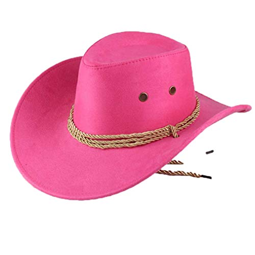 (Faux Suede Western Cowboy Hat Vintage Outback Wide Brim Cattleman Hat Beach Sun Hat with Strap Rose Red)
