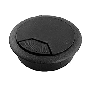 home office desk table computer grommet cable wire hole cover black office products. Black Bedroom Furniture Sets. Home Design Ideas