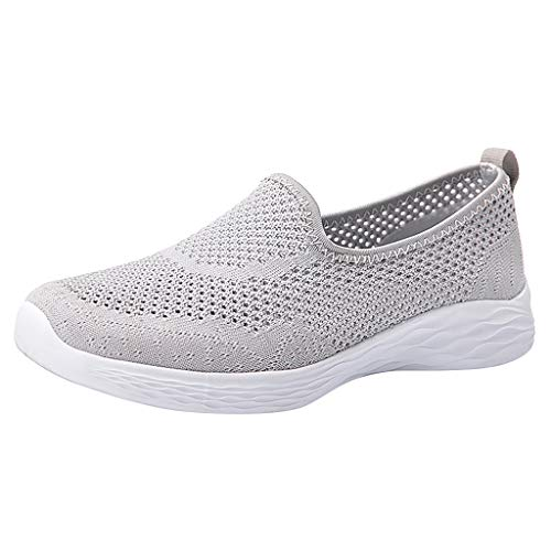 2019 New Women's Leisure Breathable Comfy Mesh Sports Shoes Summer Outdoor Soft Bottom Fitness Running Sneakers Claerance (Gray, US:7.5)
