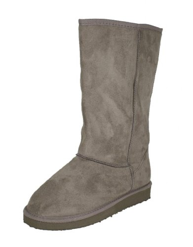 Oakley-01A! By Qupid Warm and Comfy Classic Faux fur Mid-calf Pull-on Boots, grey faux suede, 8 M Review