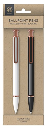 U Brands 471U06-48 'The Monterey' Retractable Ballpoint Pen, Black and White, Black Ink, 2-Pack (Fashion Ballpoint Pen Black Ink)