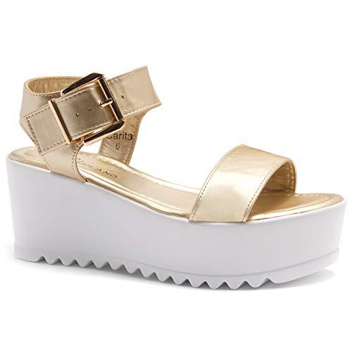 Herstyle Carita Women's Open Toe Ankle Strap Platform Wedge Sandal L.Gold 6.5