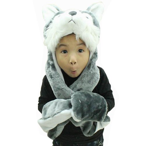 Hee Fly Plush Animal Winter Hats with Paws Type Wolf, One Size]()