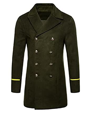 Jofemuho Men Wool Wlend Pea Coat Winter Double Breasted