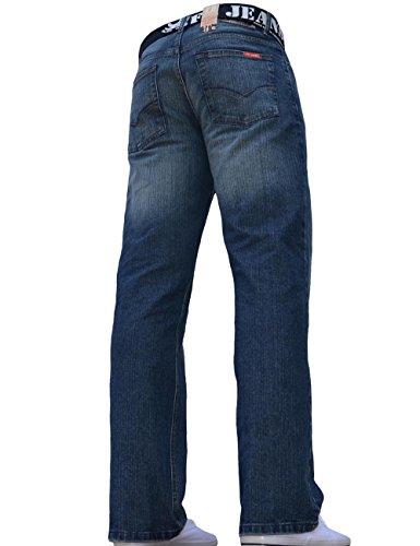 Denim Blu Fbm Tutte Dark Uomo Da Jeans In Wash Regolare Taglie Scuro Vestibilità Bnwt Dritto Le Taglio qqfRzrwv