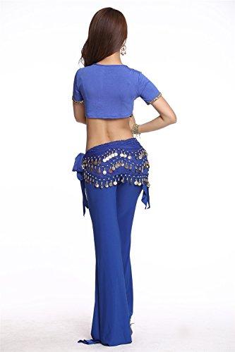 Danza del vientre Disfraz Set Bead bordado Top+Acuñar Falda Pantalones Dark Blue