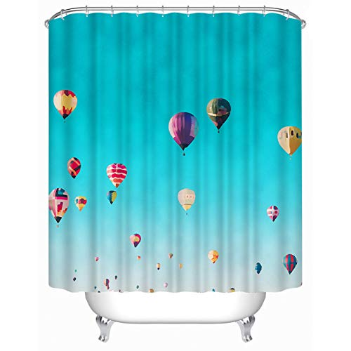 """Cheerhunting Sky Shower Curtain, Colorful Hot Air Balloon Flying in Blue Sky, 72""""W x 72""""H Waterproof Fabric Bathroom Decor"""
