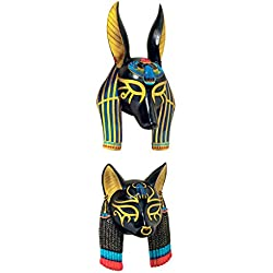 Design Toscano Masks of Ancient Egyptian Gods Sculpture, Set of Anubis and Bastet